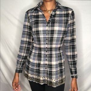HOT IN HOLLYWOOD tunic shirt checkered Top M